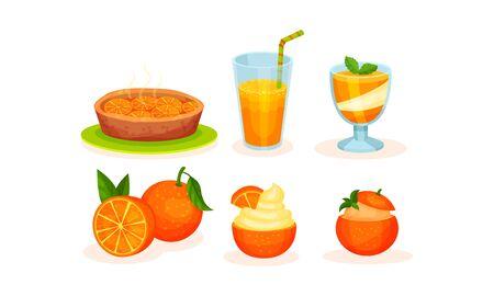 Pie, juice and other orange desserts. Vector illustration on a white background. Çizim