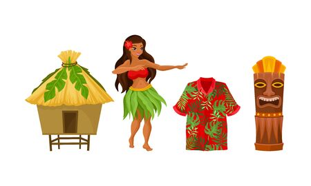 Hawaiian woman, home and other symbols. Vector illustration on a white background.