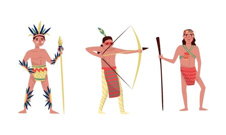 Indians men in traditional clothes. Vector illustration on a white background.