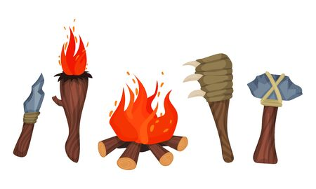 Stone Age Items. Knife, torch, club, ax. Vector illustration on a white background. Ilustrace