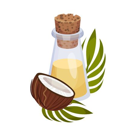 Coconut Organic Oil Bottle with Bottle Cap and Jojoba Branch Next to It Vector Illustration. Aroma Treatment Concept