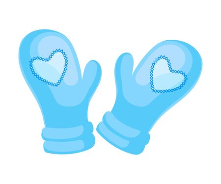 Cute light blue mittens. Vector illustration on a white background.