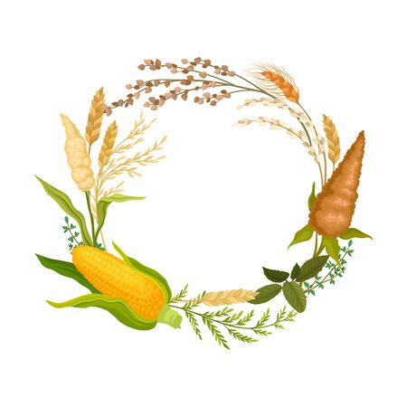 Wreath of different ears and plants. Vector illustration. Standard-Bild - 133052410