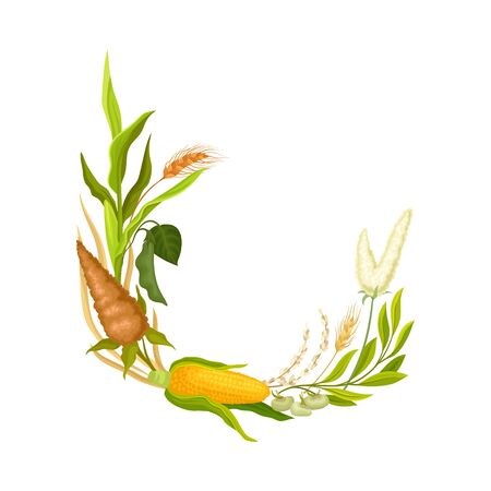 Composition of long leaves and corn. Vector illustration.