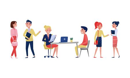 People in the office for an interview. Vector illustration on a white background.