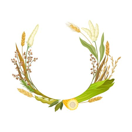 Frame in the form of a half ring from different stalks and ears of corn. Vector illustration. 向量圖像