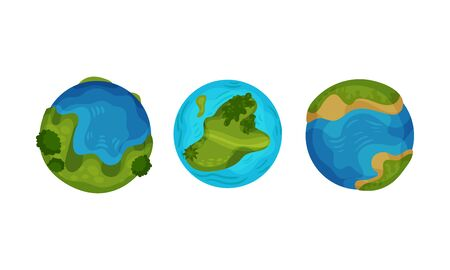 Set of globes. Vector illustration on a white background.
