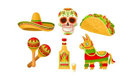 Set of mexican food, drinks and symbols. Vector illustration on a white background.