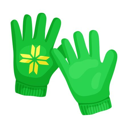 Cute green gloves. Vector illustration on a white background.