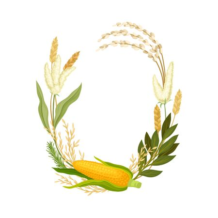 Whole yellow ear of corn with leaves and ears of corn. Vector illustration.