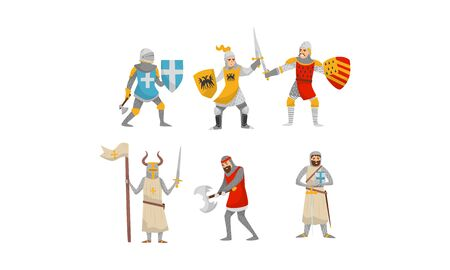 Set of knights in armor with shields and weapons. Vector illustration on a white background.