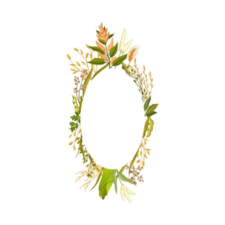 Oval frame of different yellow ears, green leaves, buckwheat stems and pea pods. Vector illustration.