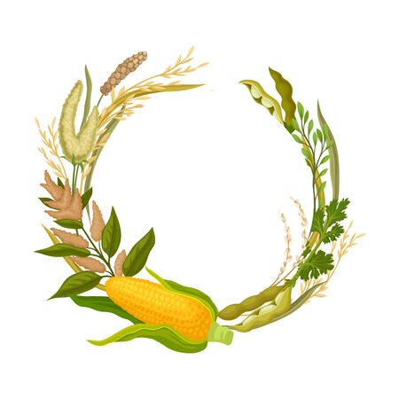 Composition in the form of an open ring made from ears of corn, pea pods and various plants. Vector illustration.