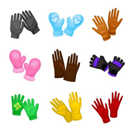 Set of stylish mittens and gloves. Vector illustration on a white background.