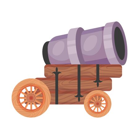 Short purple cannon . Vector illustration on a white background.