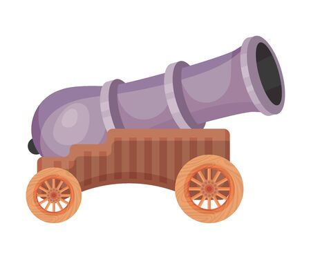 Purple cannon on wheels. Vector illustration on a white background.