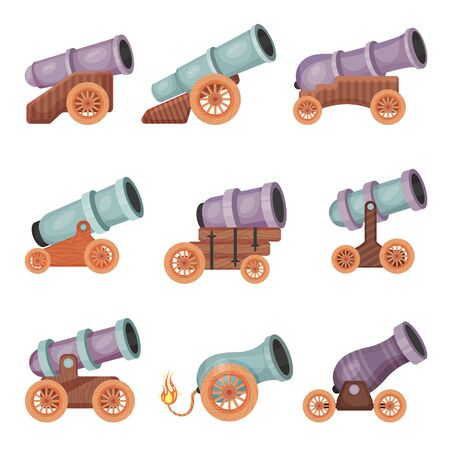 Set of vintage cannons on wheels. Vector illustration on a white background.