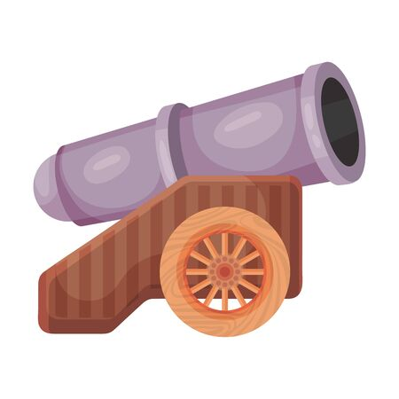 Purple cannon on the platform. Vector illustration on a white background.