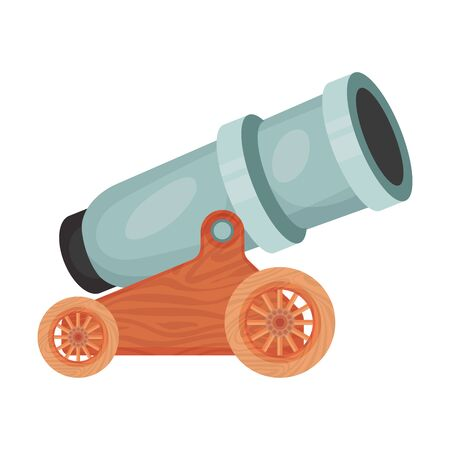 Antique gray thick cannon . Vector illustration on a white background.