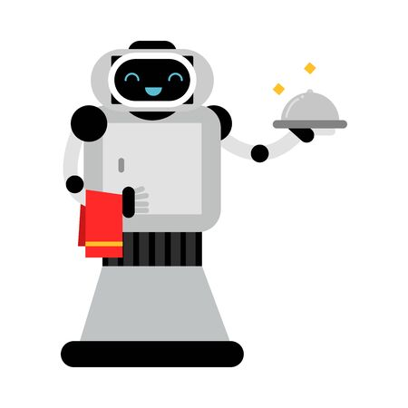 Kind robot home helper holds a closed dish. Vector illustration.