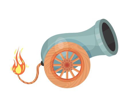 Antique gray cannon with a burning wick. Vector illustration on a white background.