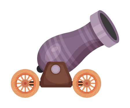 Striped purple cannon. Vector illustration on a white background.