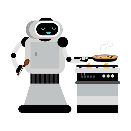 Cute robot home assistant cooks in a pan. Vector illustration.