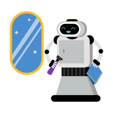 Cute robot home assistant near a brilliant mirror. Vector illustration. Illustration
