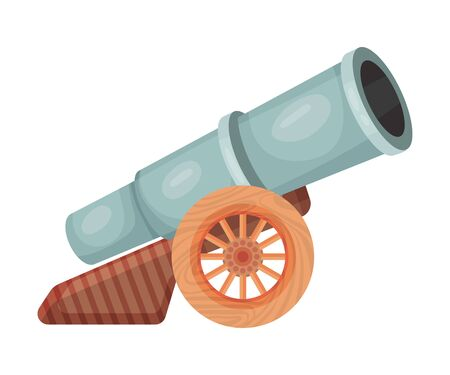 Gray cannon. Vector illustration on a white background. Stock Illustratie