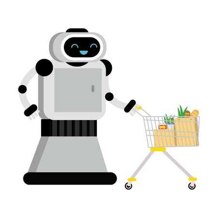Cute robot home assistant rolls a shopping cart. Vector illustration.