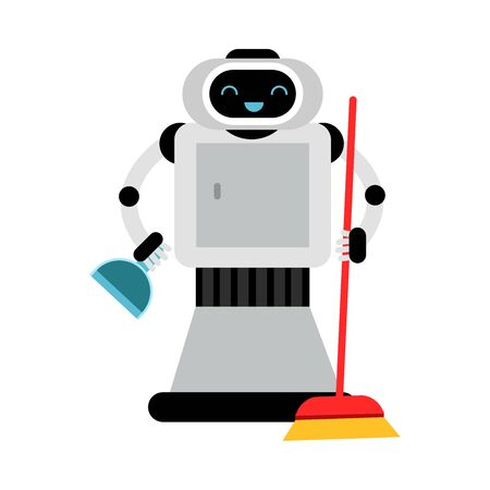 Cute robot home assistant with a broom and dustpan. Vector illustration.