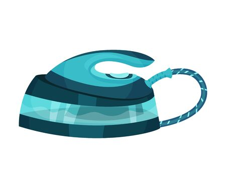 Blue iron with a striped wire. Vector illustration on a white background.
