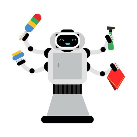 Multi armed robot home assistant holds different items for cleaning. Vector illustration.