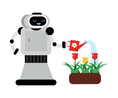 Cute robot home assistant watering flowers. Vector illustration.