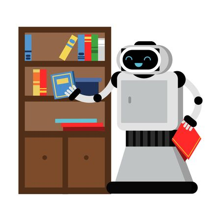 Cute robot home helper wipes the dust in the closet. Vector illustration. Illustration