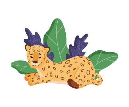 Spotted Leopard Sitting Resting Near Tropical Leaves Vector Illustration