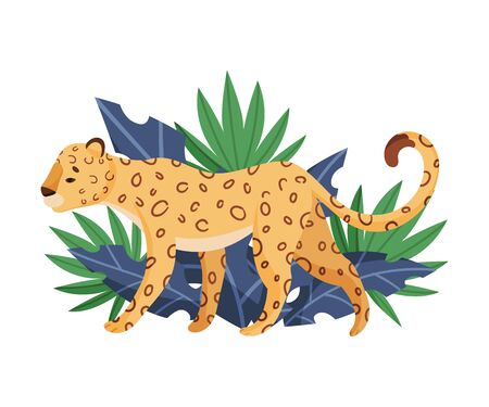 Cute African Animal Walking Past Tropical Leaves Vector Illustration