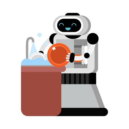 Cute robot home assistant washes the dishes. Vector illustration.