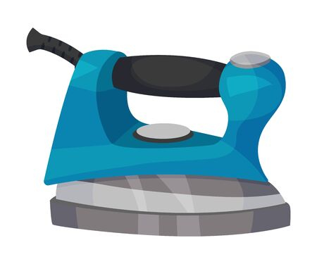 Blue iron with a handle. Vector illustration on a white background. Illustration