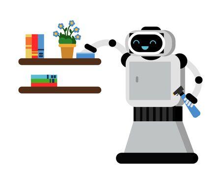 Asistente de hogar robot gris de dibujos animados sostiene spray y limpia el polvo en un estante con flores y libros en macetas. Ilustración vectorial.