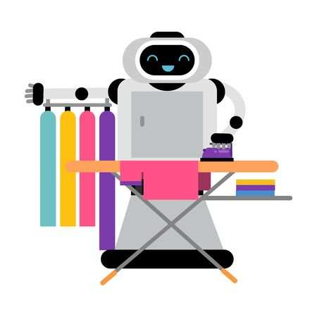 Cute robot home assistant is ironing things. Vector illustration.
