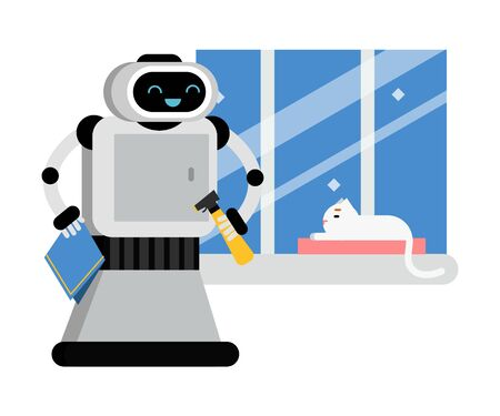 Cartoon gray robot with a kind face holds a blue rag and looks at a white cat. Vector illustration.