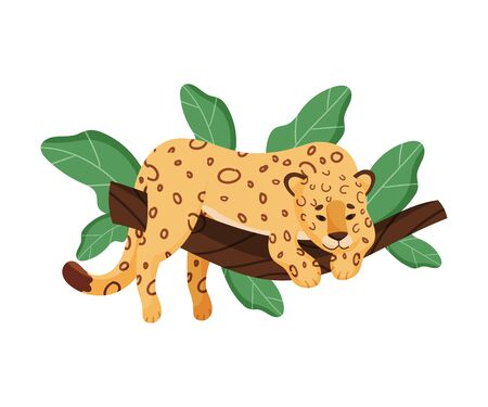 Cute Leopard Character Lying On Tree Branch Vector Illustration. Trendy Wildlife Concept Ilustracja