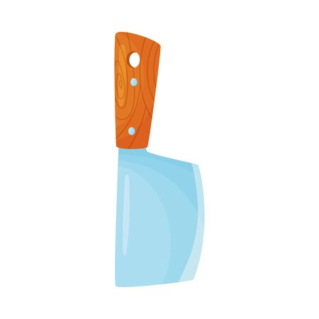 Large knife with a wide blade and a brown handle. Vector illustration on a white background.  イラスト・ベクター素材