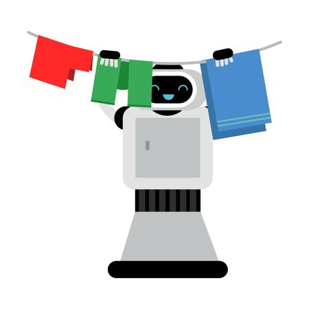 Cartoon gray robot home assistant hangs wet laundry on a rope. Vector illustration.