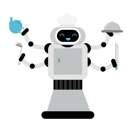 Multi armed gray home assistant robot in a cook cap holds a kettle, soup ladle, knife and a closed dish. Vector illustration. Ilustracja
