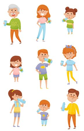 People Characters of Different Ages Drinking Water From Bottles and Glasses Vector Set Ilustracja