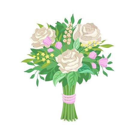 Cute and Elegant Wedding Bouquet Vector Illustration. Decorative Element For Marriage Celebration