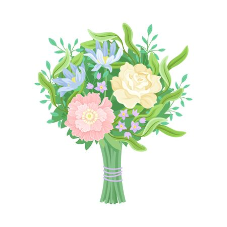 Wedding Bouquets Vector Illustrated Set. Magnificent Flower Bunch. Floral Decoration Collection