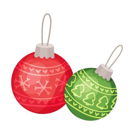 Two christmas balls. Vector illustration on a white background. Ilustração